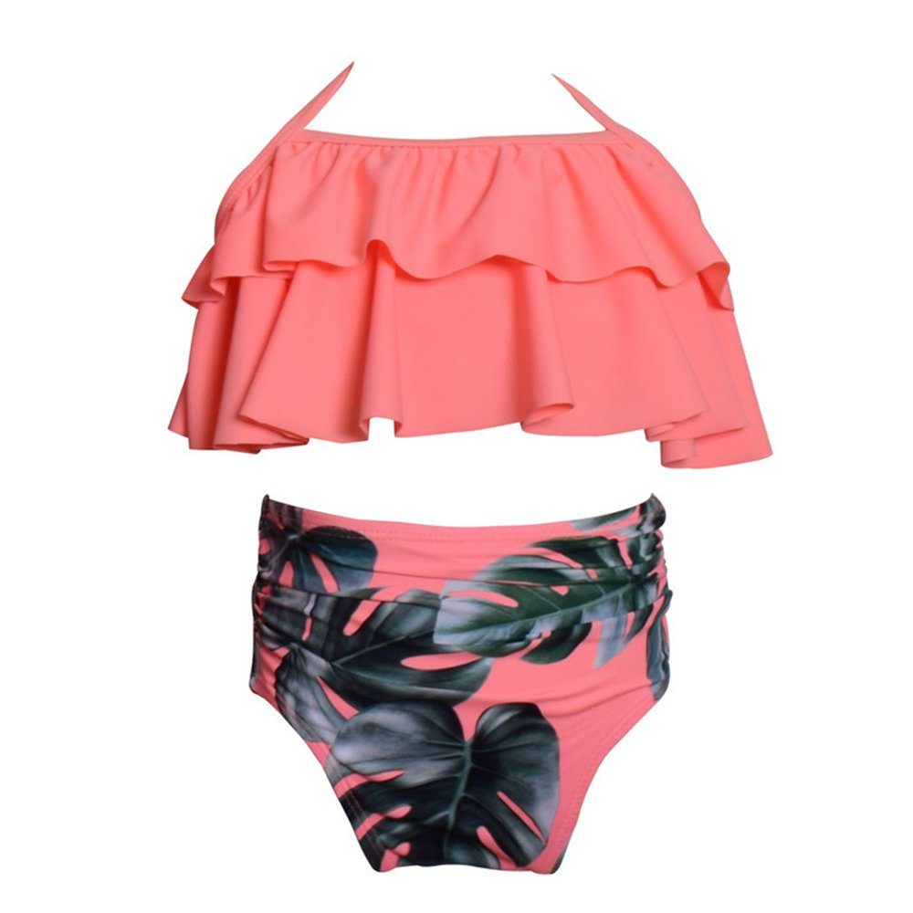 WeDream Girls Lovely Flounce Bikini 2 Piece Pink Halter High Waisted Floral Swimsuit Bathing Suit 116