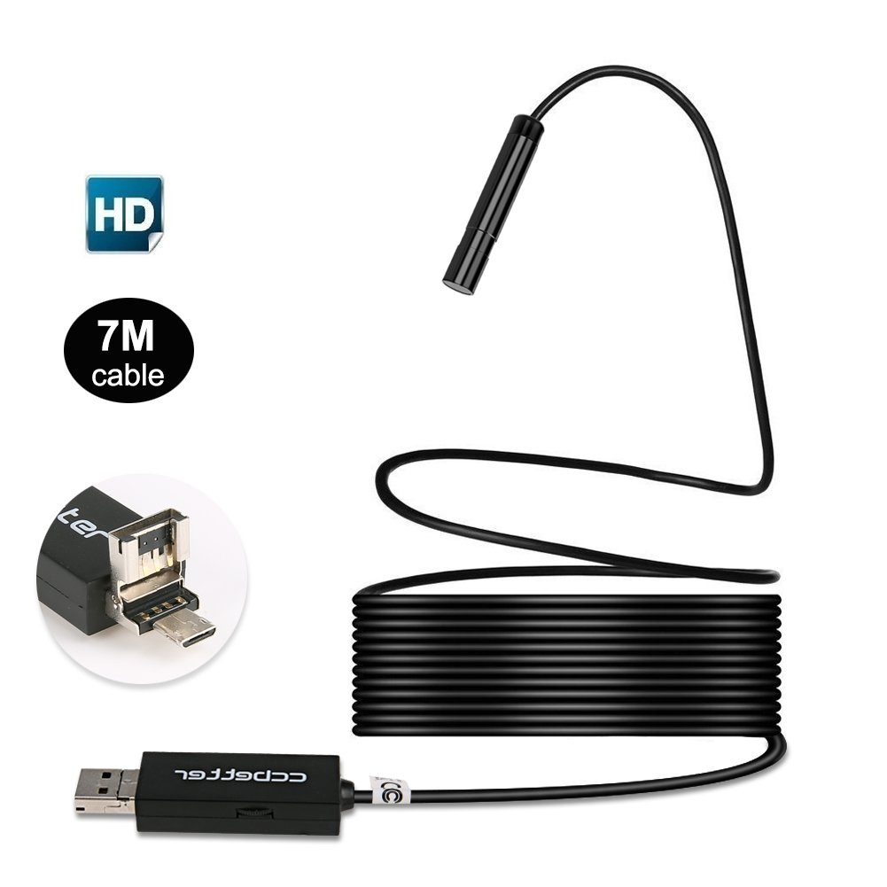 Ccbetter 2 In 1 Usb Endoscope Mp 720p Hd Camera 85mm Book Wiring Observation Room Ip67 Waterproof 6 Adjustable Leds Digital Inspection For Android Mac