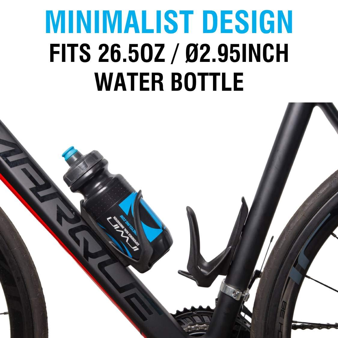 MARQUE Dual Bike Bottle Cage Black Bicycle Water Bottle Holder for Road Cyclin