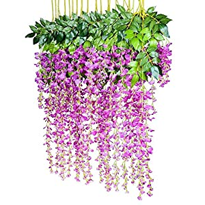 Lvcky 12pcs Artificial Flowers Wisteria Fake Hanging Silk Flower 9