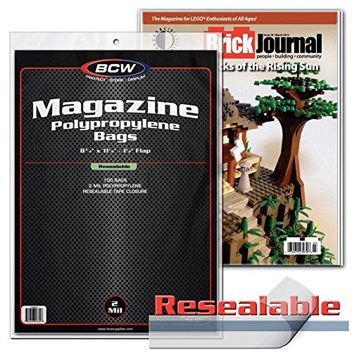 Resealable Magazine Storage Bags and Boards BCW 200 Each