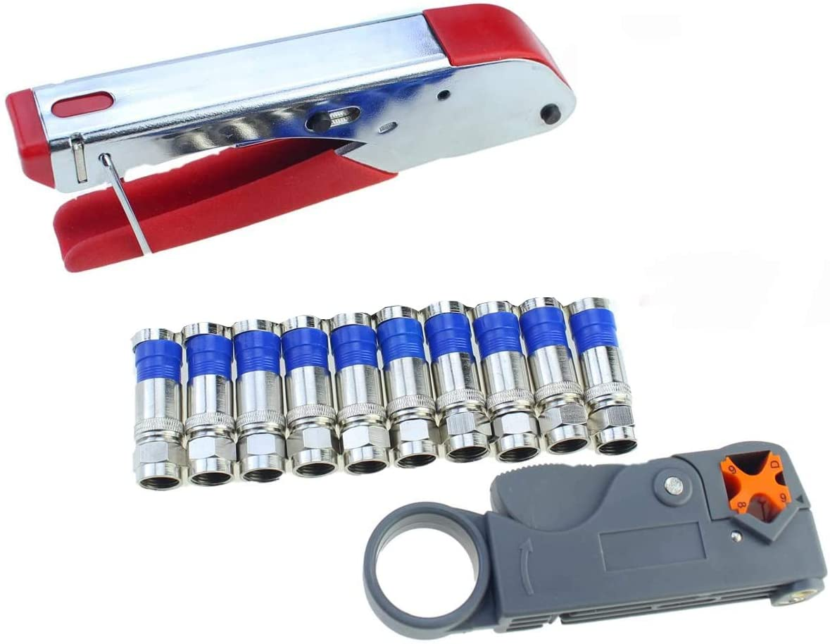 Coaxial Compression Tool Kit Wire Stripper with F RG6 RG59 Coax Cable Crimper