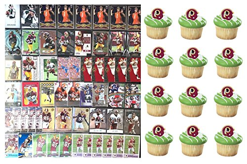 HUGE 72 Piece Football Birthday Party WASHINGTON REDSKINS Party Favor Set of 12 Redskins Helmet Rings and 60 REDSKINS Players Cards Featuring Star Players (Cards May Vary From Those Pictured) (Redskins Washington Cake)