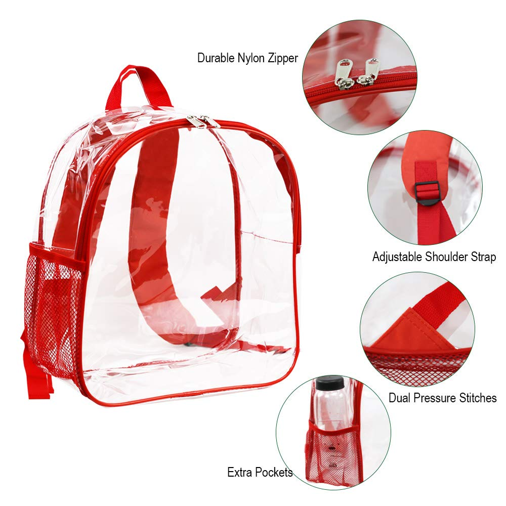Stadium Approved Clear Backpack Heavy Duty/Cold-Resistant Transparent Backpack for Concert, Security Travel &Stadium(Red) by Magicbags (Image #5)