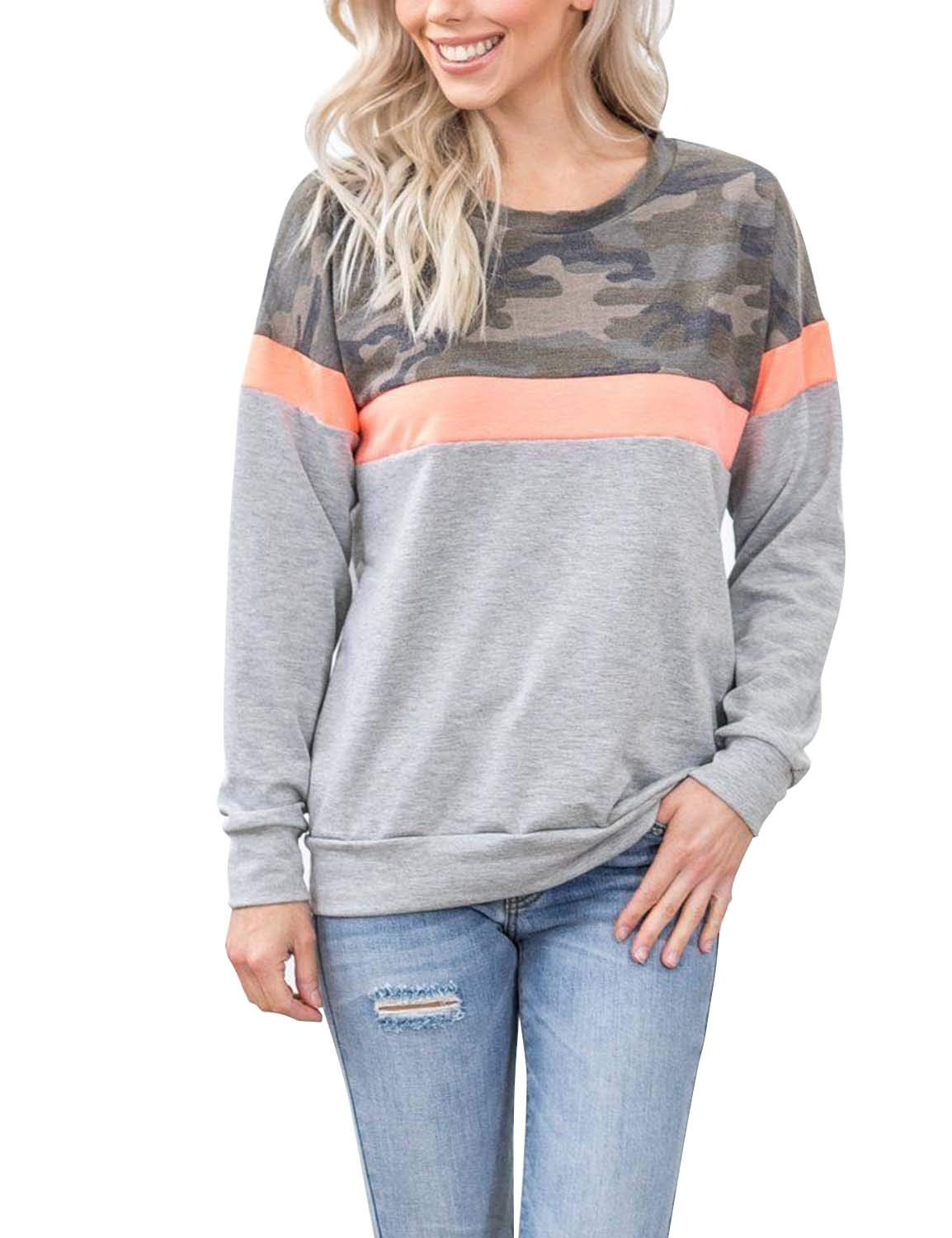 BMJL Women's Round Neck Basic Top Long Sleeved Sweater Contrast Color Patchwork amouflage Printing