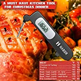 Habor Instant Read Meat Thermometer, Accurate Cooking Thermometer Electronic Kitchen Thermometer with Digital LCD, Fordable Long Probe for Food Christmas Turkey, Candy, Cake, Milk, BBQ Grill Smokers