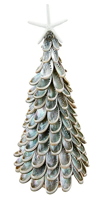 Coastal Christmas Tablescape Décor - Polished Abalone Seashell Tabletop Christmas Tree with Resin Starfish Topper by Beachcomber