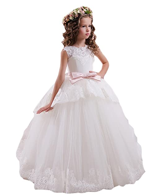 Ikerenwedding Lace Flower Girls First Communion Princess Dress With Bow Belt