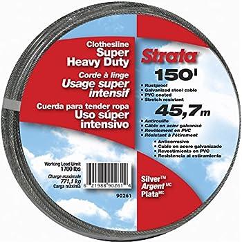 Strata 150 Silver Clothesline - Super Heavy Duty Galvanized Steel Cable, PVC Coasting