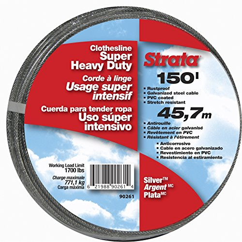 - Strata 150' Silver Clothesline - Super Heavy Duty Galvanized Steel Cable, PVC Coasting