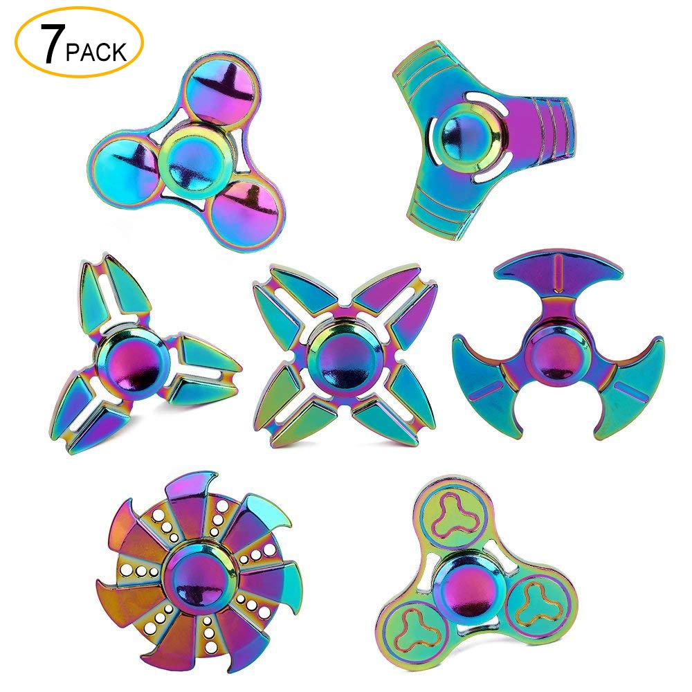 SCIONE Metal Fidget Spinner 7 Pack Stainless Steel Bearing 3-5 Min High Speed Stress Relief Spin ADHD Anxiety Toys