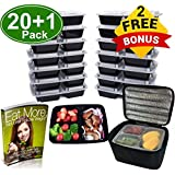 Meal Prep Containers 3 Compartment [20 Pack] & Meal Prep Bag/Lunch Bag/Cooler Bag, BPA Free, Freezer, Microwave, Upper Dishwasher Safe, Reusable Meal Prep Lunch Box (32 oz) (21)