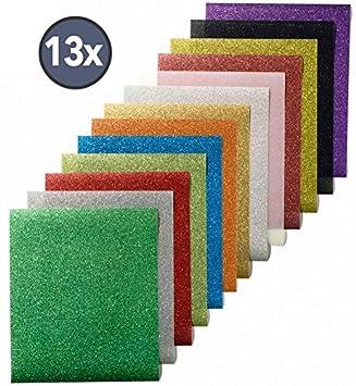 13 colores (12 por 10 pulgadas) Premium calidad purpurina hojas de transferencia de calor