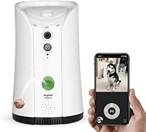 SKYMEE Dog Camera Treat Dispenser,WiFi Full HD Pet Camera with Two-Way Audio and Night Vision,Compatible with Alexa(White)