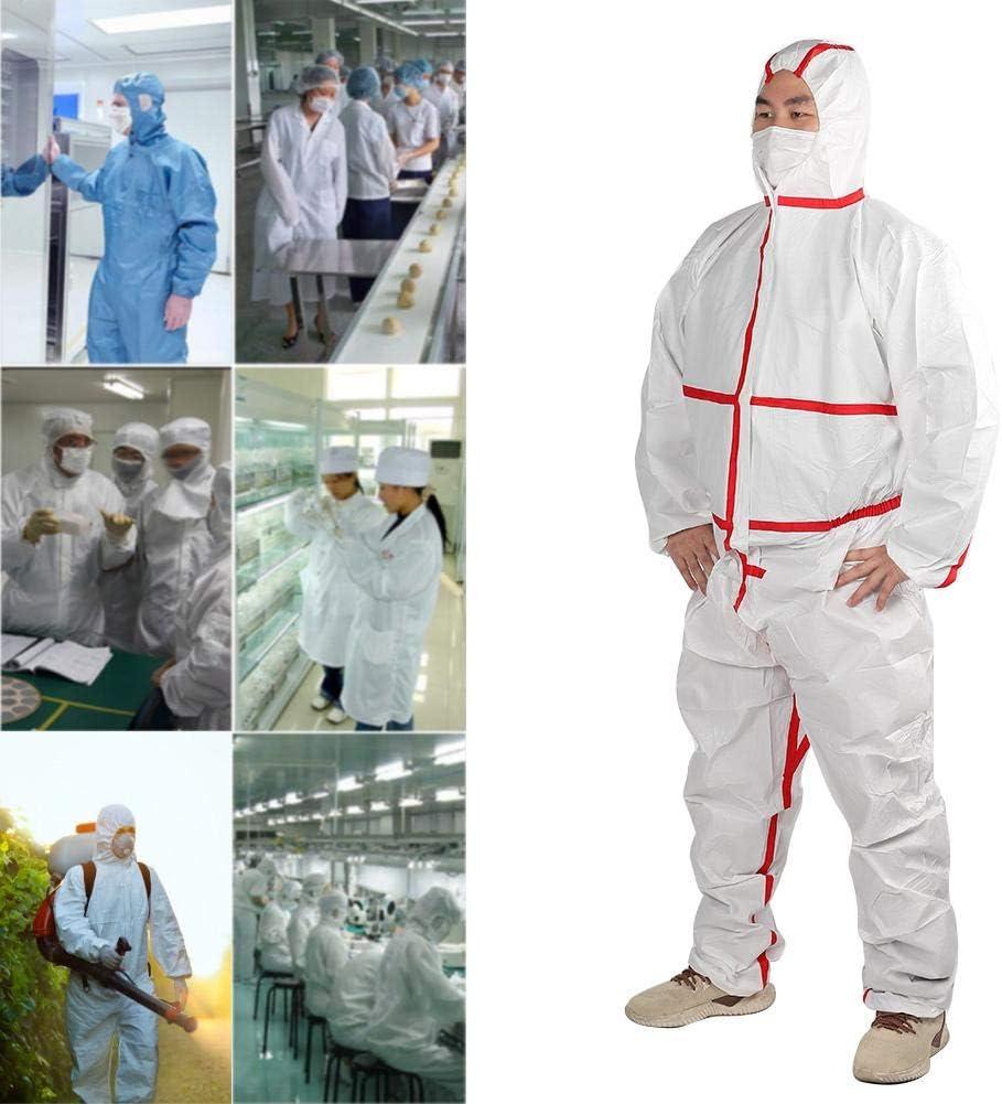2XL Overoles protectores no tejidos de polipropileno transpirable Se adapta a la limpieza industrial limpieza de almacenamiento Traje de protecci/ón qu/ímica Overoles personales qu/ímicos