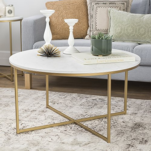 "WE Furniture 36"" Coffee Table with X-Base - Faux Marble/Gold"
