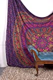 Tapestry Queen hippie Flower Beautiful Artwork wall decor Mandala Beach BedSpread Intricate Indian Bedspread Tapestries 92x82 Inches Aakriti Gallery (Purple)