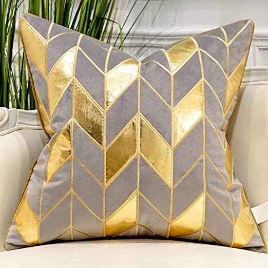 Amazon.com: Avigers 18 x 18 Inches Grey Gold Striped Cushion Case