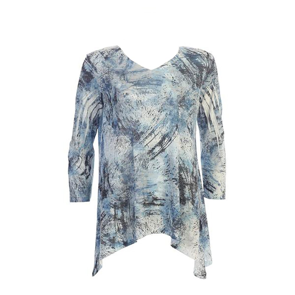 48-1069 Jess /& Jane Oceania Abstract Print V-Neck Burnout Tunic