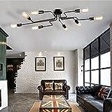 Frideko Modern Industrial Black Spider 8 Sockets E27 Ceiling Pendant Light for Living Room Restaurant Dining Room Coffee Shop