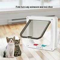 EBTOOLS Katzenklappe, weiß Hundeklappe Haustierklappe Katzentür mit 4-Wege-Verschlusssystem verfügt, S/L Optional