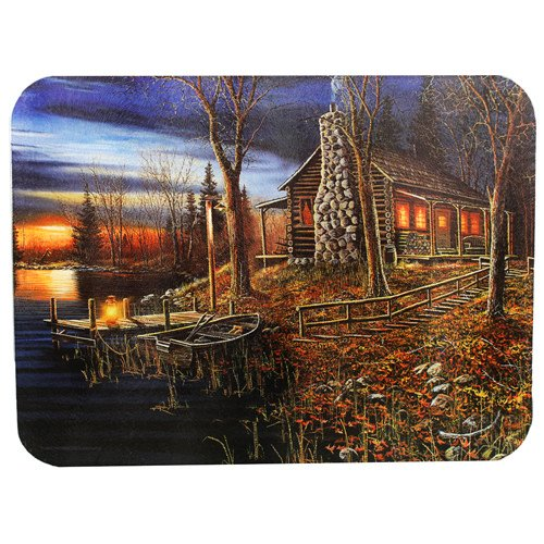 River's Edge Tempered Glass Cutting Board with Beautiful Lakeside Forrest Cabin at Sunset Design (Cabin, 16-Inchx12-Inchx.5-Inch) (Cabin Cutting Board)