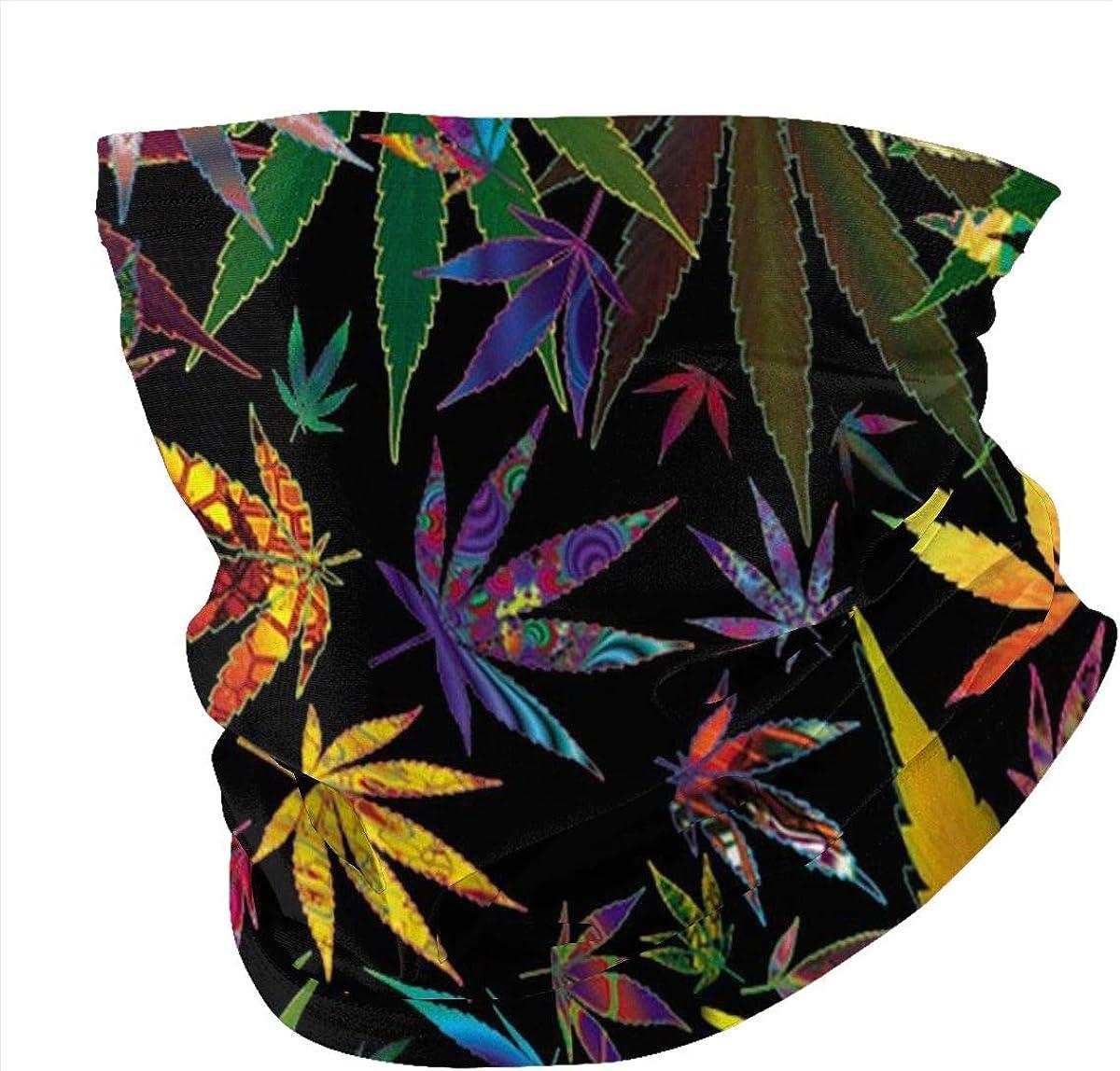 Colorful Marijuana Weed Seamless Bandana Neck Gaiter Mask Breathable Balaclava Sports & Casual Headwear Cycling Running Hiking Headband for Women and Men