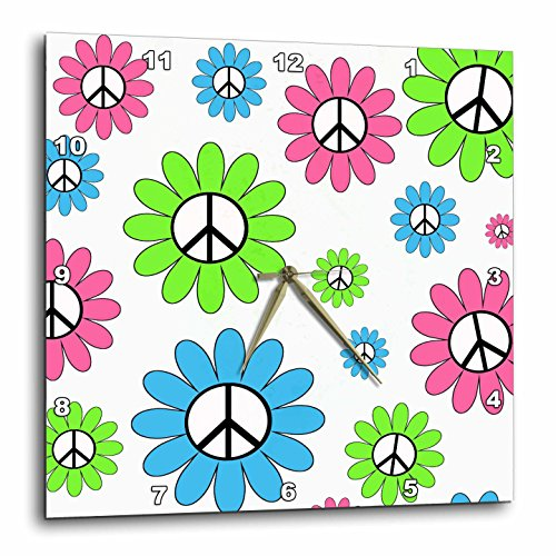 Girly Pink, Lime & Blue Peace Sign Flowers Wall Clock