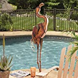 Outdoor Decor Large Metal Flamingo, Hand Painted Garden Statue, 56.5-Inch (110309052). Made Of Weather Resistant Iron Sheet And Iron Pipe. 7.5 In. L X 15.5 In. W X 56.5 In. H