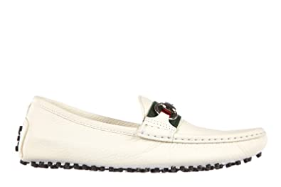 92af7ae228f Gucci Women s Leather Loafers Moccasins Road White UK Size 4 265309  AHM109051