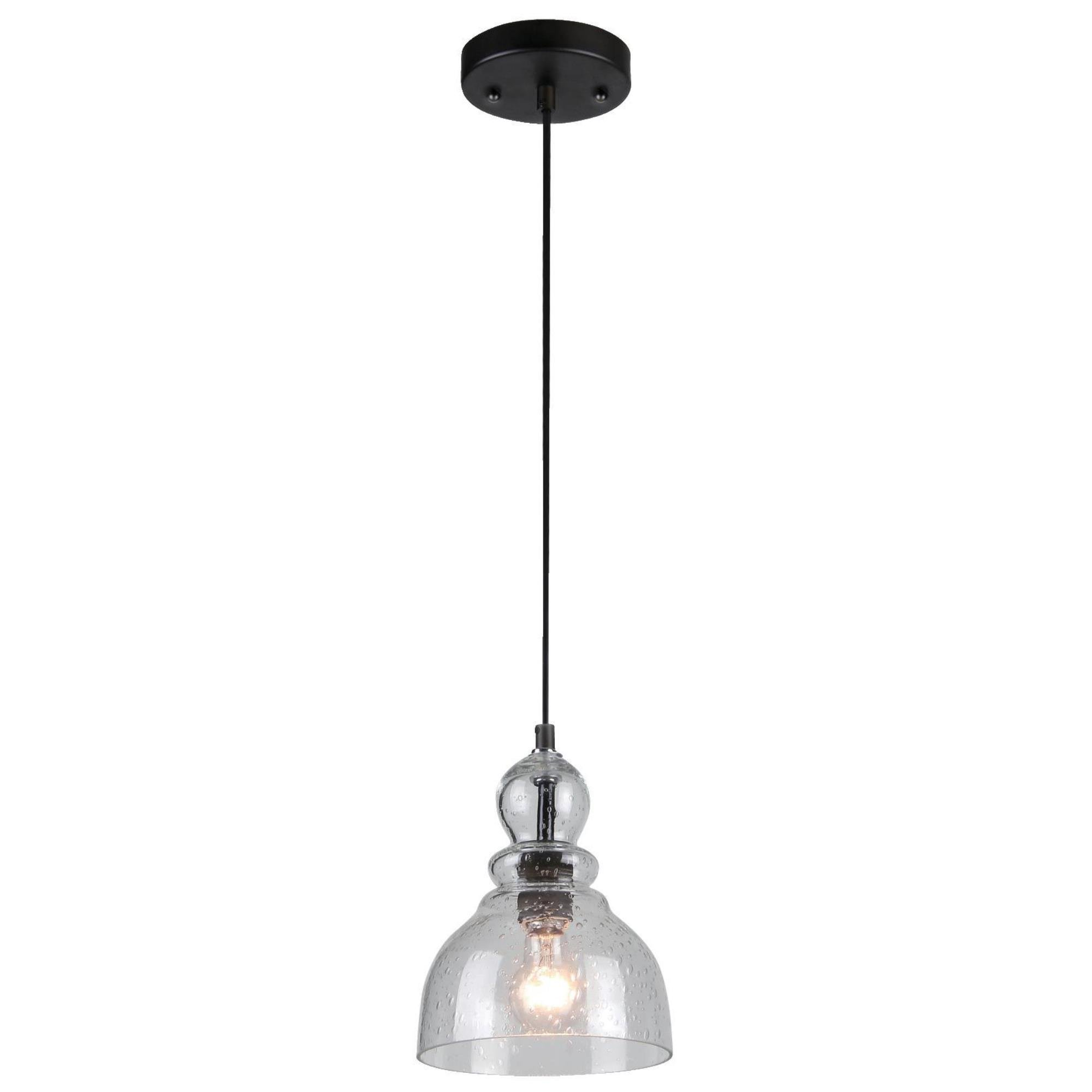 Westinghouse 6100800 One-Light Indoor Mini Pendant, Oil Rubbed Bronze Finish with Clear Seeded Glass by Westinghouse Lighting (Image #1)