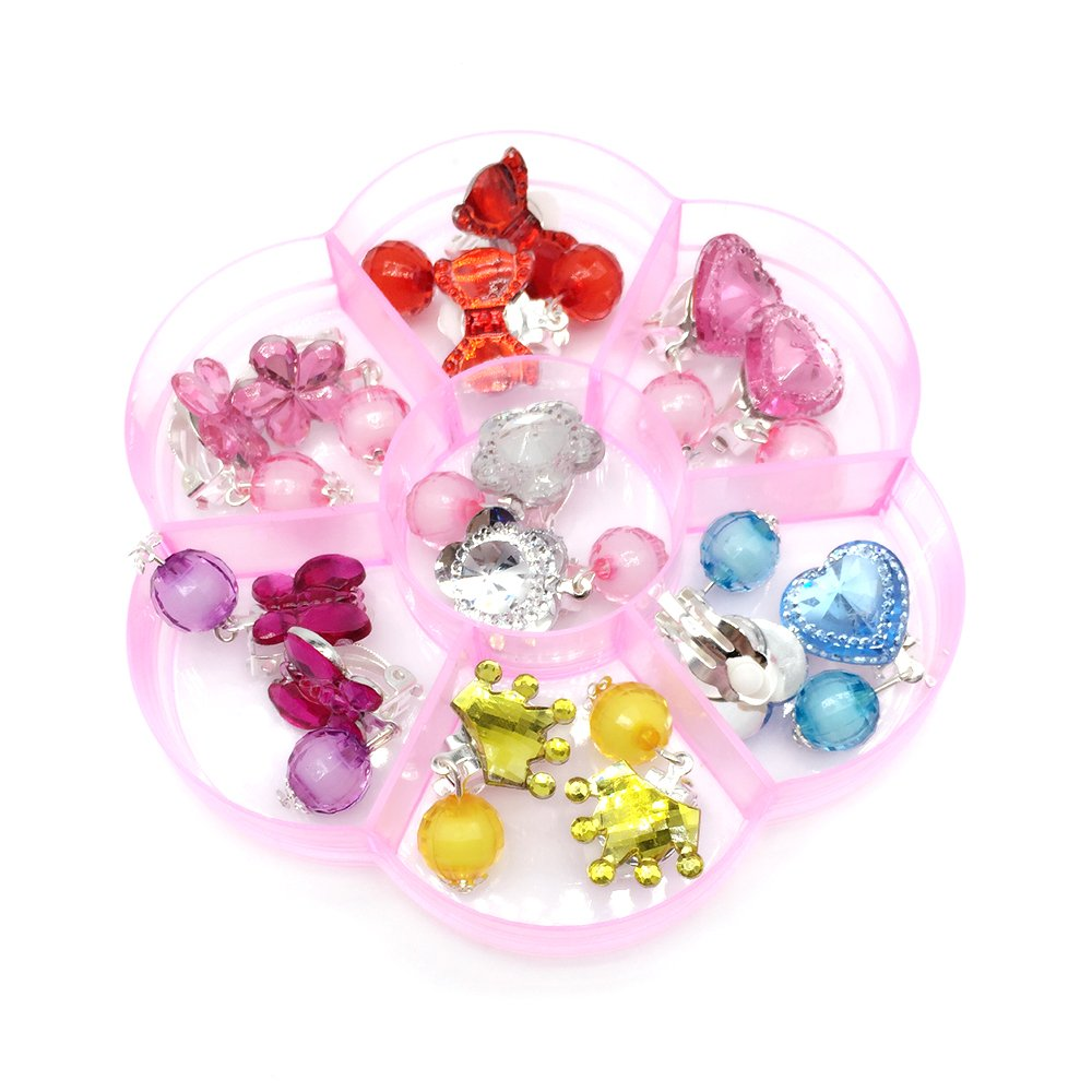 Elesa Miracle 28Pcs Little Girl Clip-on Earrings and Rings Value Set Pretend Play Dress Up Party Favor Girl Earring Accessories