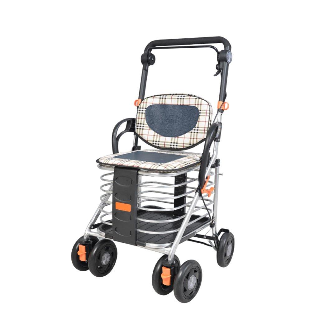ショッピングカート、高齢者の移動補助装置、折り畳み式携帯用トロリー、四輪ショッピングカート、高齢者がスクーターに乗ることができる、超軽量_ダブルブレーキ (Color : Black, Size : 94*48*50cm) B07FM2FFZ4 Black 94*48*50cm