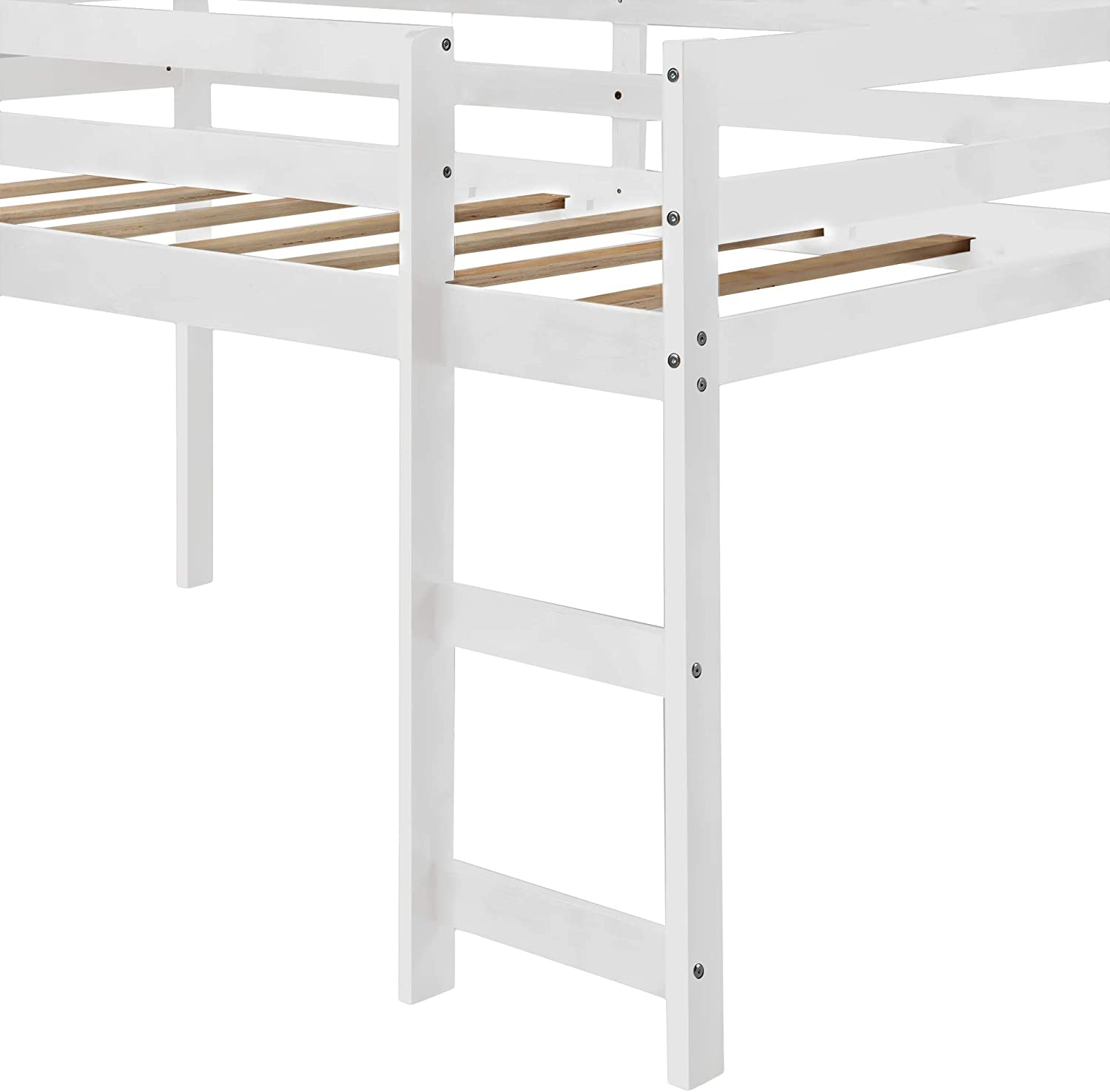 Wooden Twin Loft Bed Frame for Bedroom GHEDA Wood Loft Bed with Slide and Ladder for Kids No Box Spring Needed White