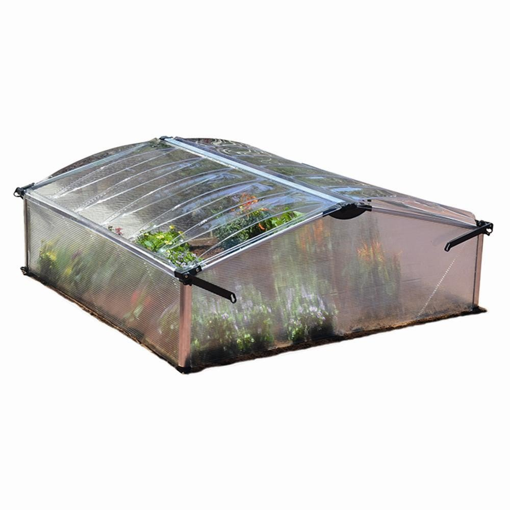 Palram 701656 cold frame box with 2 compartments, 106 x 103 x 40 cm, aluminium