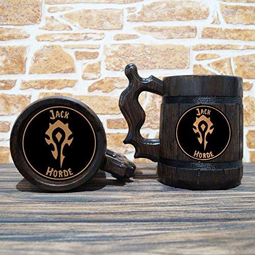 Horde-Mug-World-Of-Warcraft-Engraved-Beer-Mug-Gift-WOW-Wooden-Mug-Tankard-Personalized-Groomsmen-Beer-Stein-Personal-Gift-for-Men-Gift-for-Him