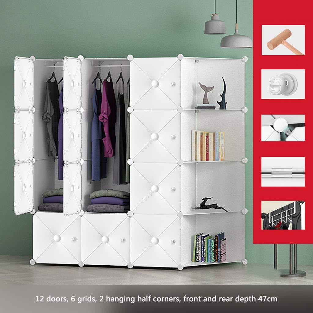 D Clothes Closet Wardrobe Portable Wardrobe Closet Modular Storage Organizer Space Saving Armoire Deeper Cube with Hanging Rod 12 Doors (Size   A)