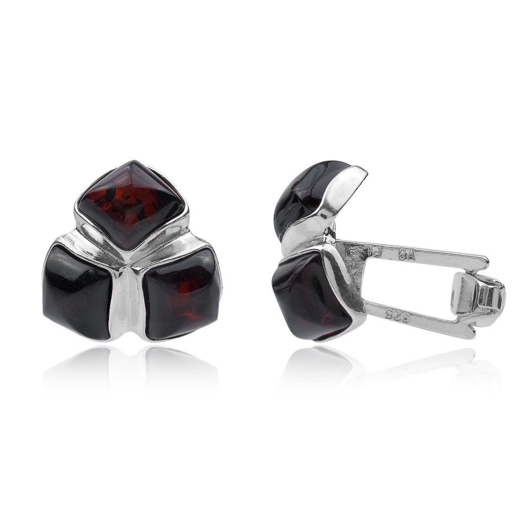 UNIQUE CHERRY AFRICAN AMBER CUFFLINKS  STERLING SILVER