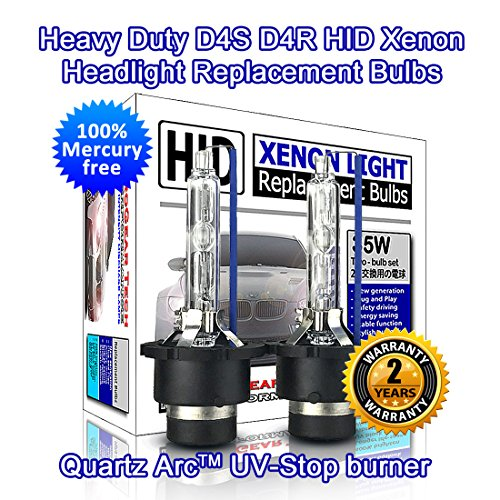 Heavy Duty D4S D4R HID Xenon Headlight Replacement Bulbs 35W Non-Mercury High Low Beam (Pack of 2) (4300K OEM Color)