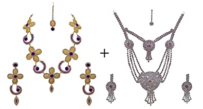 d037f2f411ba0 Buy Kabello Set of 2 Necklace Set for Women and Girls, Jewellery for ...