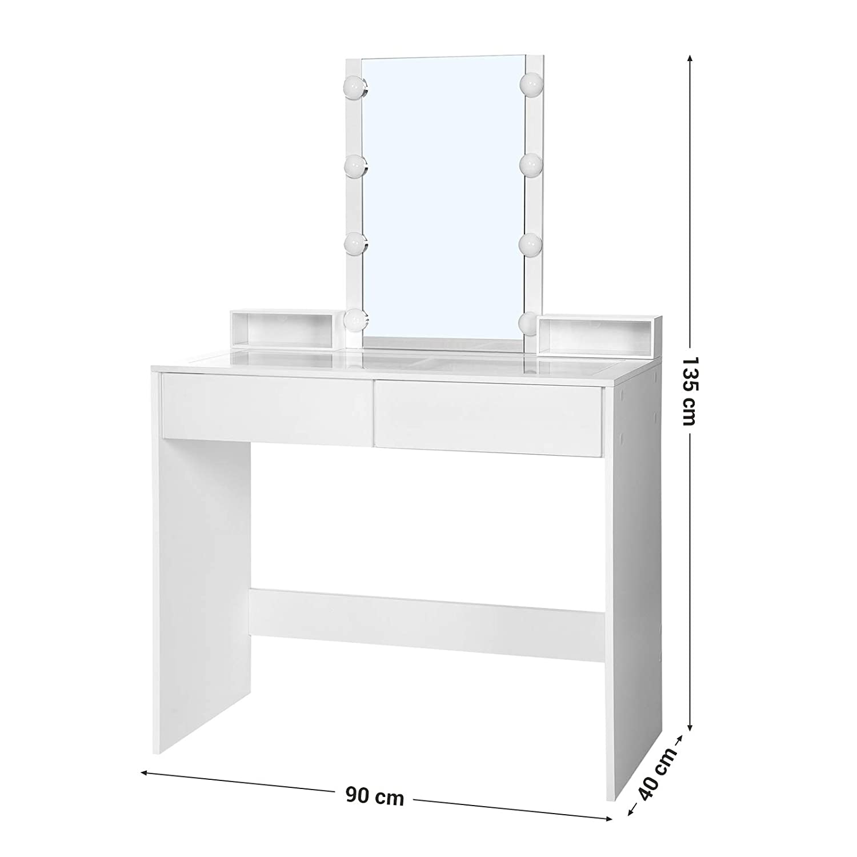 Mesa de Maquilleje VASAGLE Tocador Espejo Cuadrado con 8 Luces LED Exhibici/ón de Joyas Blanco RDT112WT con 2 Cajones Transparentes de Vidrio Templado y 2 Cajitas Acr/ílicas a Prueba de Polvo