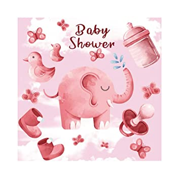 Cassisy 1,5x1,5m Vinilo Baby Shower Fondo de Fotografia Niña Baby Shower Bandera Elefante Chupete Papel Pintado Rosa Telón de Fondo Photo Booth Party ...