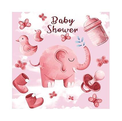 Leyiyi Baby Shower Pink Theme Backdrop 5x5ft Photography Backdrop Cute Elephant Bird Butterfly Milk Bottle Nipple Snow Boots Dreamy Baby Pink Cloud ...