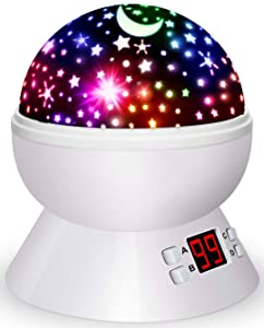 Night Lights for Kids, Multiple Colors Rotating Star Projector with Timing Shutdown Function, Night Light for Baby Boys and Girls