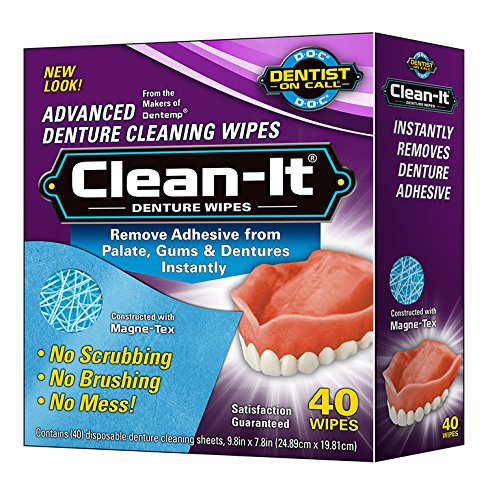 Clean-It Denture Wipes, 40-Count, (Pack of 6) (Best Way To Remove Denture Adhesive From Dentures)