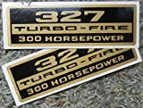 CHEVY 327 TURBO-FIRE 300hp VALVE COVER DECAL - STICKER - 2PC SET