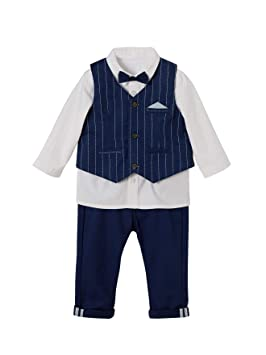 38ae9fa3e1bea VERTBAUDET Ensemble bébé garçon cérémonie gilet + chemise + noeud papillon  + pantalon BLEU ROYAL RAYE