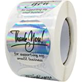 """PMCDS2G Thank You Stickers Holographic Four Patterns Water-Proof 1.5"""" 500pcs in 1 Roll for Gift Décor Thank You Cards Small B"""