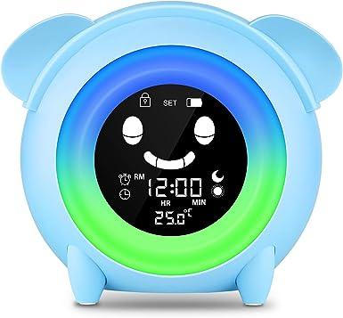 KKUYI Kinderwecker,5 Farben LED Lichtwecker,Kinder schlafen Trainer mit Datum und Temperatur,Wake Up Lichtwecker f/ür Kinder,5 nat/ürliche Kl/änge Wei/ß