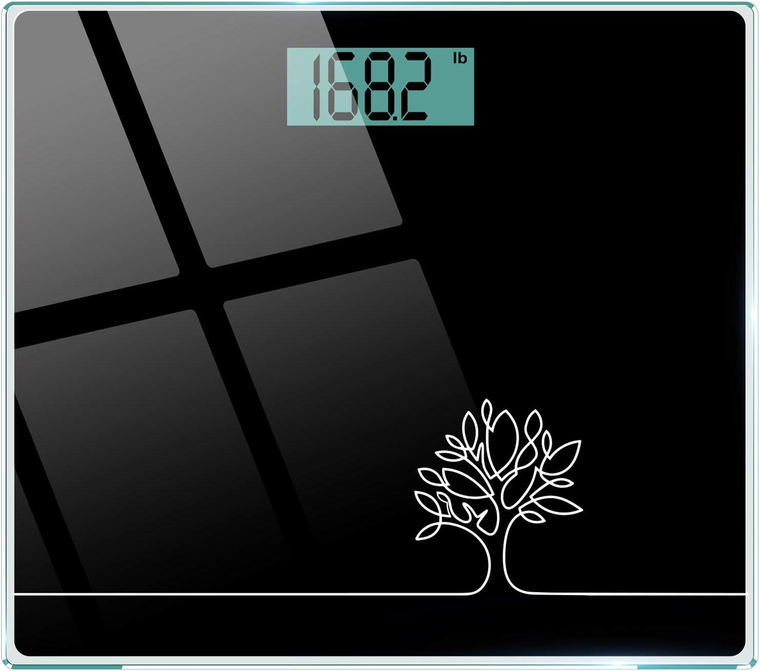 Cocoda Bascula de Baño, Vasculas de Peso Digital con Unidades st/lb/kg, Tecnología Step-On, Alta Precisión 0.1kg/0.2lb, Vidrio Templado Resistente de 6mm, 150kg/330lb/24st (Negro Elegante): Amazon.es: Salud y cuidado personal